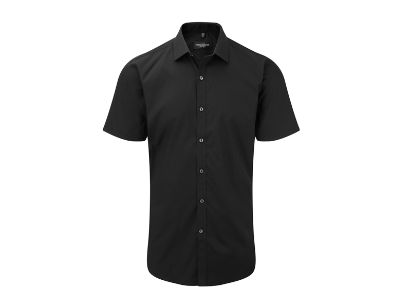 Overhemd Zwart Korte Mouw.Russell R 961m 0 Heren Ultimate Stretch Shirt Korte Mouw
