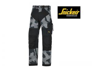 snickers-6903-FlexiWork-Werkbroek + zonder-holsterzakken_grijscamo_zwart_8704