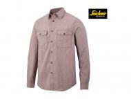 snickers-8507-AllroundWork-Geruit-Comfort-Shirt-Met-Lange-Mouwen_chilirood-donkerblauw_1695
