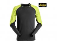 Snickers-2405-Neon-T-shirt_Lange_Mouw_Zwart_Neon Geel 0467